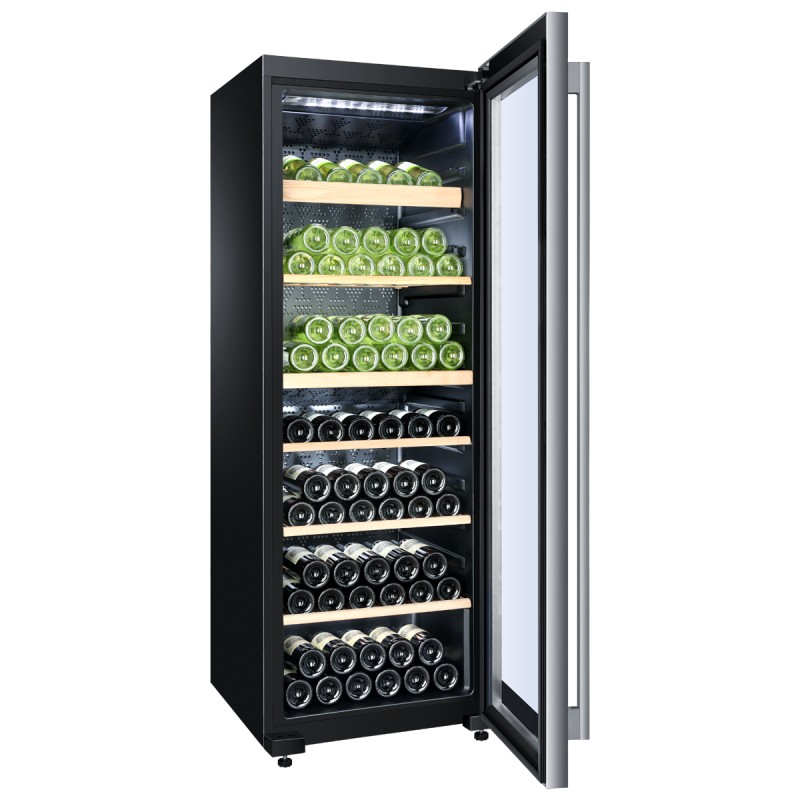 cave vin bi zone haier de 136 bouteilles surain electro. Black Bedroom Furniture Sets. Home Design Ideas